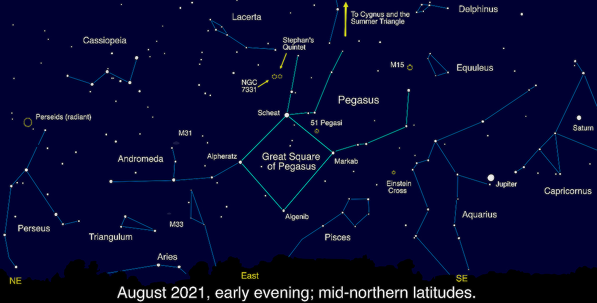 the Great Square of Pegasus constellation map