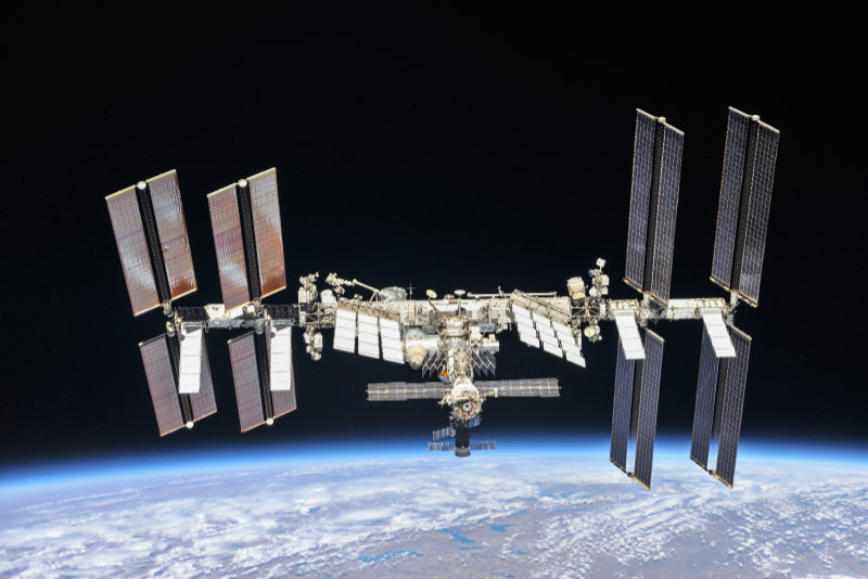 A complete view of the ISS as of October 4, 2018, taken from the Soyuz capsule of the departing crew of Expedition 56 from their Soyuz capsule. This structure was built by materials launched into orbit by 37 United States Space Shuttle missions and 5 Russian Proton and Soyuz rockets, and assembled and maintained by 230 spacewalks, with more to come!