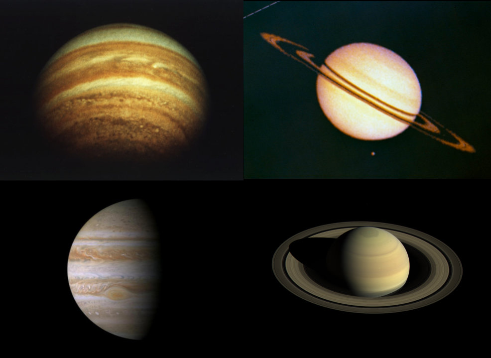 The difference in technology between generations of space probes can be stunning! The top two photos of Jupiter and Saturn were taken by Pioneer 11 in 1974 (Jupiter) and 1979 (Saturn); the bottom two were taken by Cassini in 2000 (Jupiter) and 2016 (Saturn). What kinds of photos await us from future generations of deep space explorers?