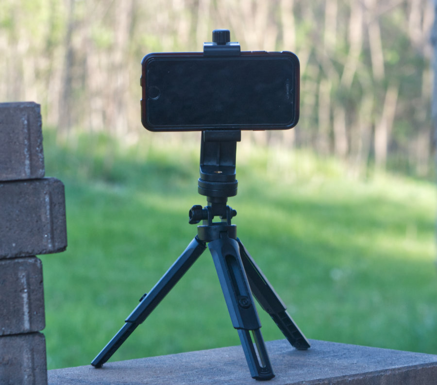 Smartphone connected to a tripod overlooking a woodland background