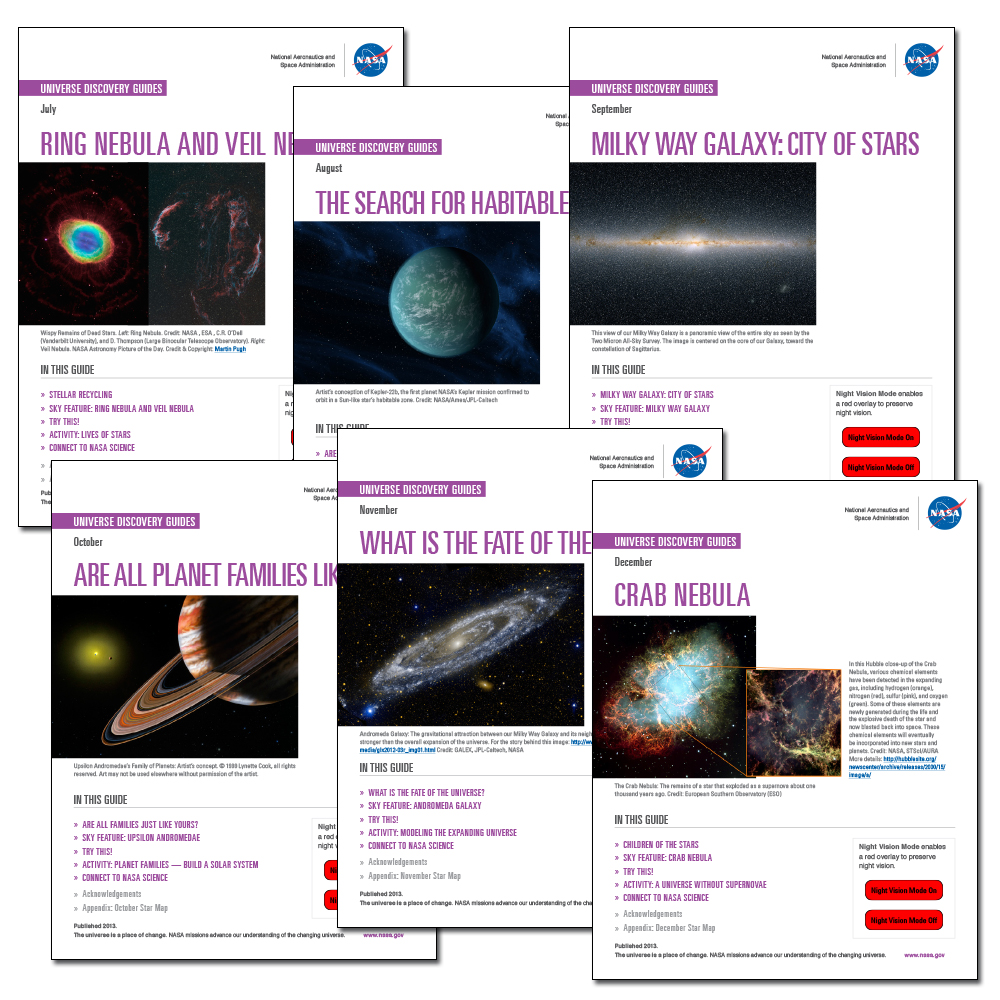 NASA UNIVERSE DISCOVERY GUIDES: July through December
