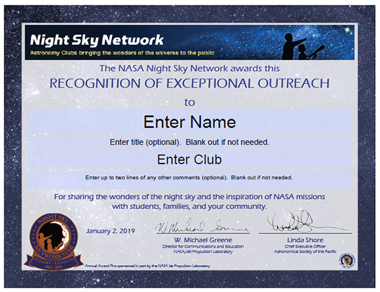 image of new NSN Astronomy Outreach Award Certificate