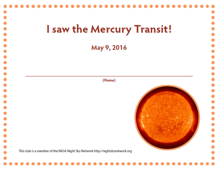 Preview image of Mercury transit observer certificate