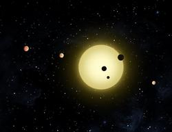 artist conception of planets around a distant star