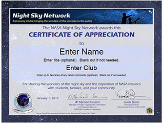 2015 NSN Certificate of Appreciation