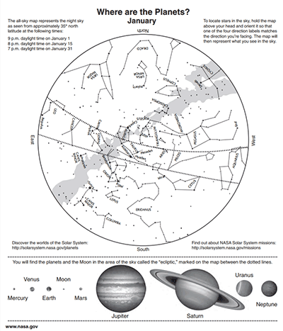 Star Maps: Where are the Planets? Astronomy Activity and Star Chart