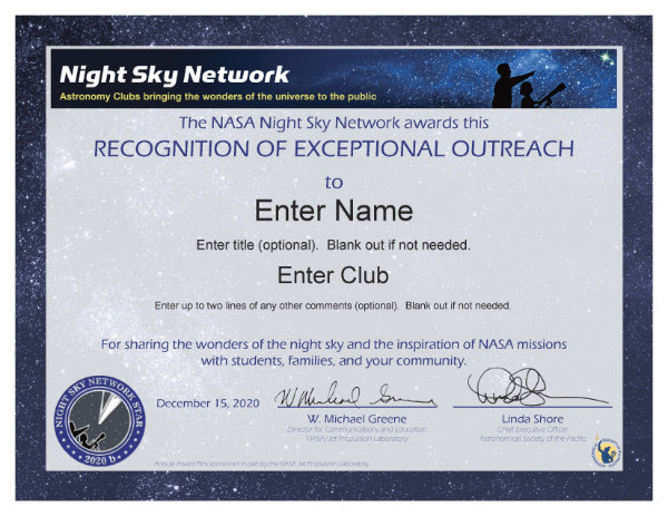 NSN Astronomy Outreach Award Certificate: Honor Service Performed in 2020