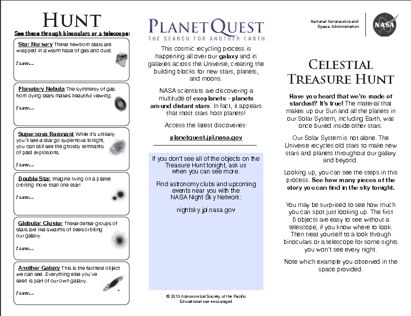 thumbnail preview of the treasure hunt handout