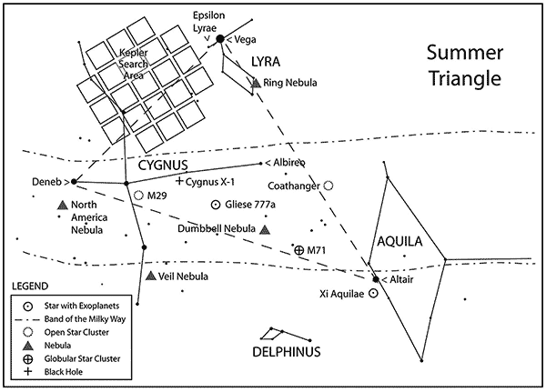 Chart featuring many objects found inside of the Summer Triangle region of sky