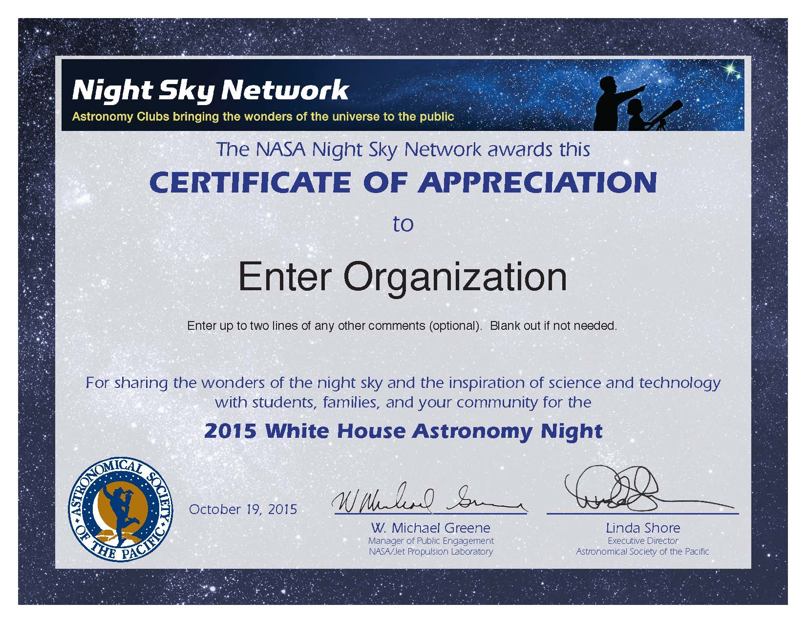 2015 White House Astronomy Night Certificate