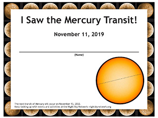 Mercury Transit Observing Tips & Certificate: November 11, 2019