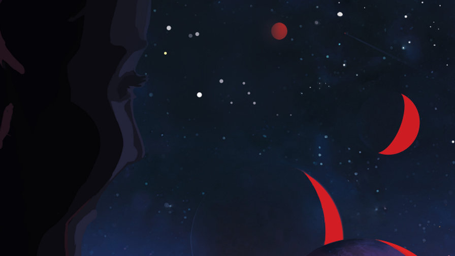 close up of a persons face staring out an abstract space scene