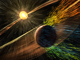 Artists rendering of Mars losing its atmosphere