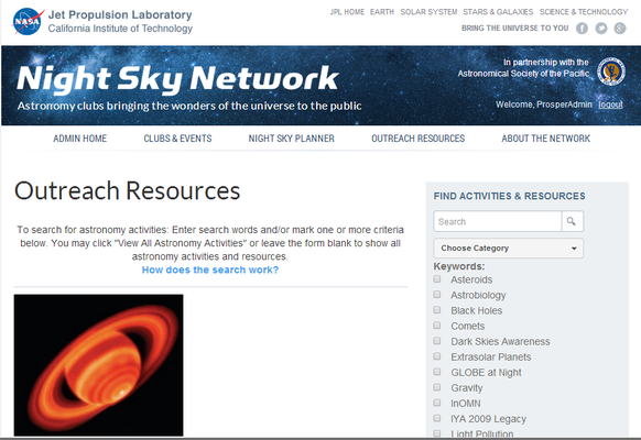 Preview thumbnail of the new look for the Night Sky Network