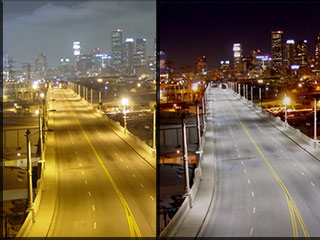 side by side image of a roadway before and after a change in lighting