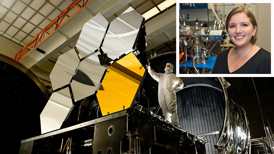 Image of the James Webb Space Telescope being assembled, with Dr. Milam