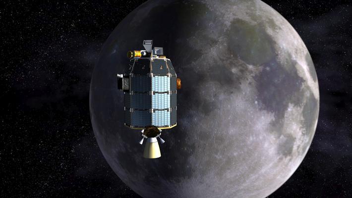Concept illustration of LADEE in lunar orbit, courtesy NASA/LADEE