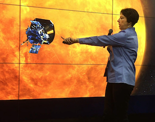 image of Dr Nicola Fox discussing the Parker Solar Probe